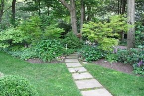 back yard landscaping demonstrating leading lines
