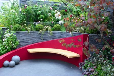 contemporary garden bench as a garden focal point idea