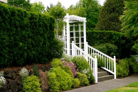 garden trellis creates a focal point at the garden entrance
