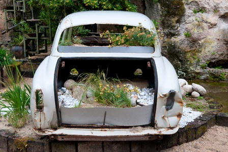 Even an old car in the garden can be a great focal point idea