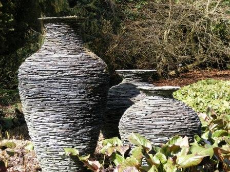 stone amphoras in the garden