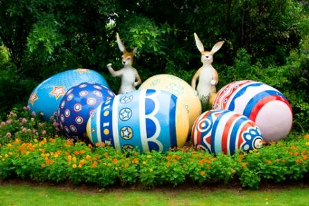 Easter Bunny and Eggs create a focal point in the garden