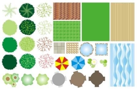 Drawing the garden plan for Landscape design icons