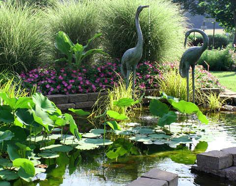 Garden Pool with Heron