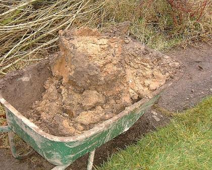 clay soil in wheelbarrow