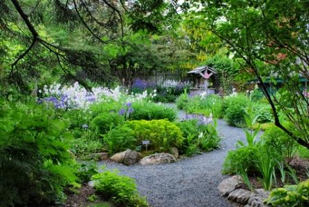 three dimesional view of garden plan