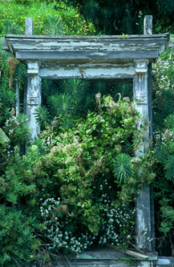 Using an old door lintel as a vertical accent is one great garden ide