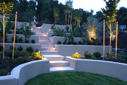 An example of the use of garden terraces to add vertical elements to the garden