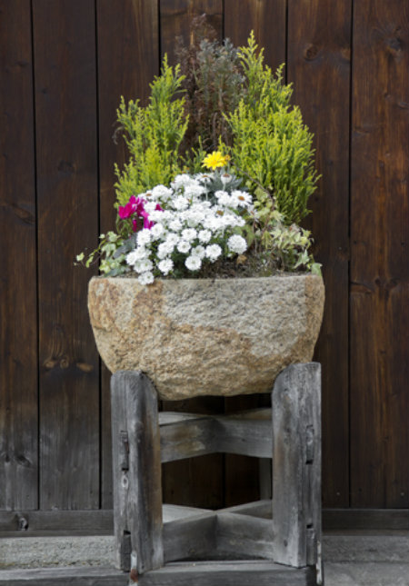 Rustic Stone Pot Planted with Flowers