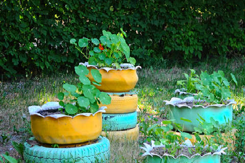 Brightly Painted Tires and Garden Containers
