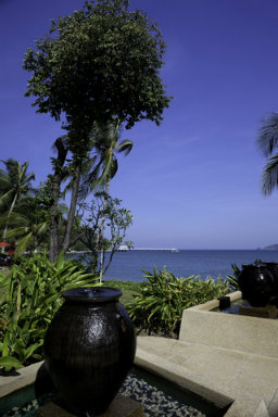 garden water feature with a view of the ocean