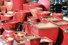 Red Enameled Pots of Different Shapes
