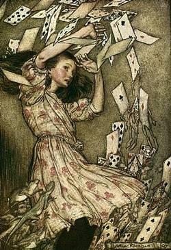 Alice in Wonderland attacked by cards
