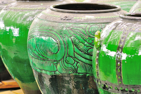 Green Chinese Glazed Pots